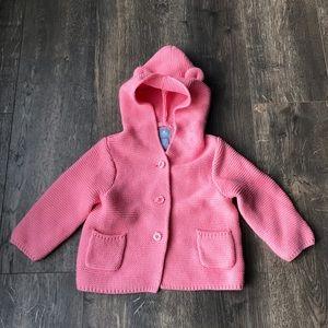Gap Garter Bear pink hooded sweater 6-12m knit
